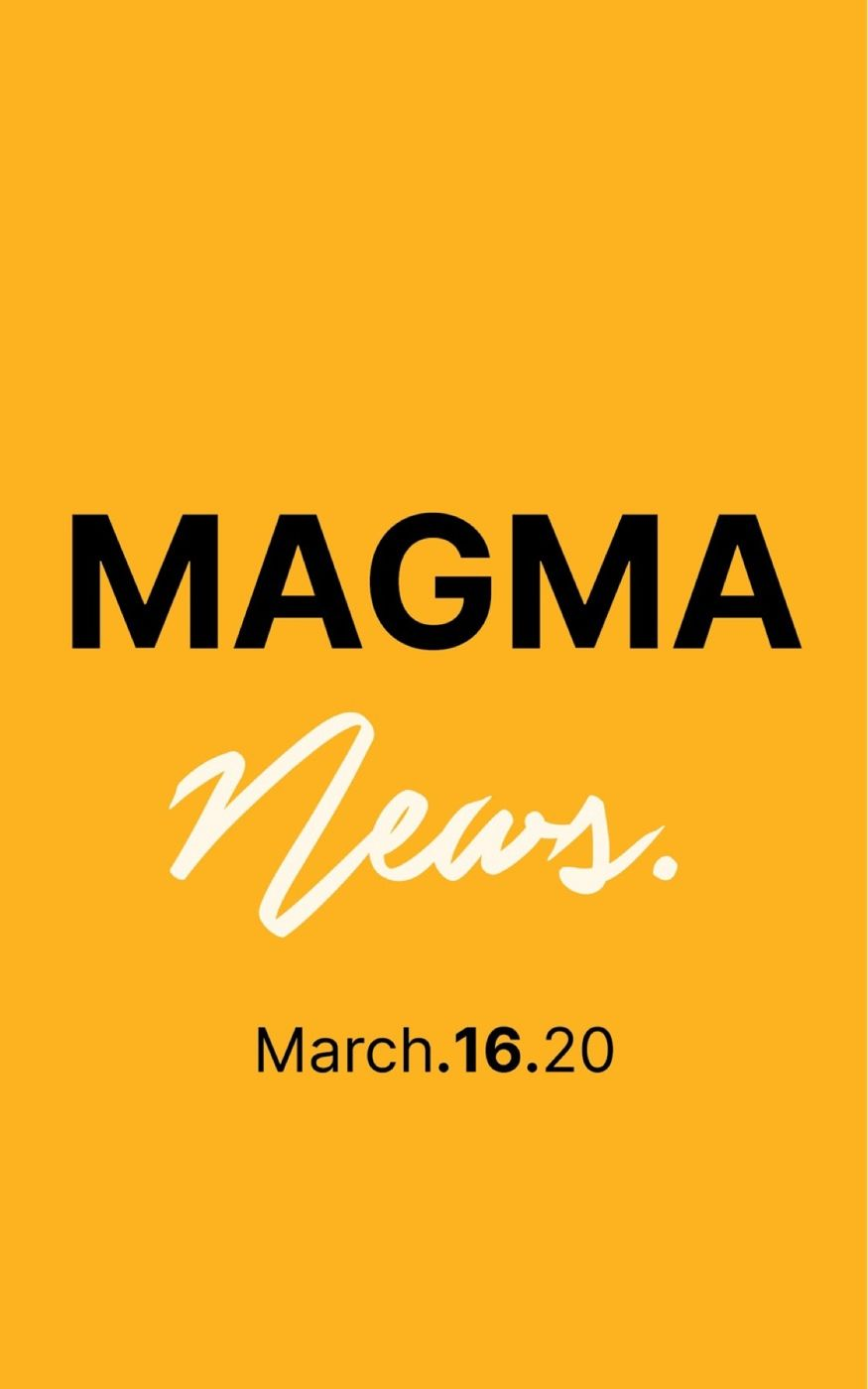Magma News | March 16, 2020  -Alibaba co-founder Jack Ma has sent the first shipment of surgical masks and coronavirus test kits to the US. -Trump urges U.S. to halt most social activity in virus fight, warns of recession. -NFL says April Draft still on. Closed to the public. -Penguins explore Shedd Aquarium during coronavirus closure. Gives the world a much needed break on the internet. -How the coronavirus spread from animals to humans?  Check back every Monday, Wednesday & Friday.