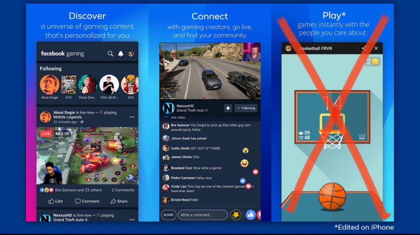 Facebook Gaming on iOS lacks its Instant Games.