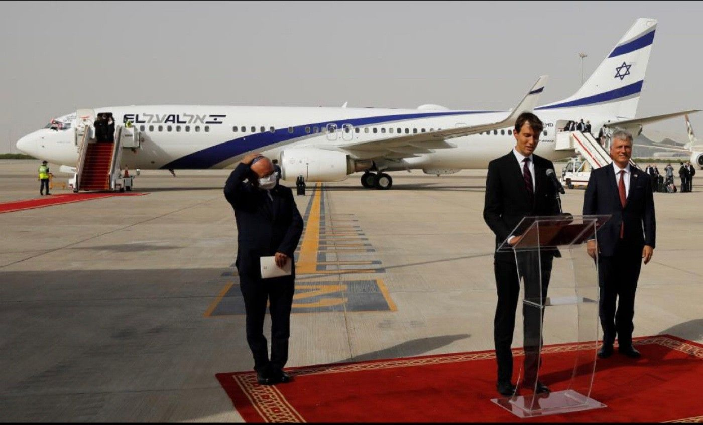 Jared Kushner speaks after disembarking from the Israeli flag carrier El Al's flight LY971 at the airport in Abu Dhabi.