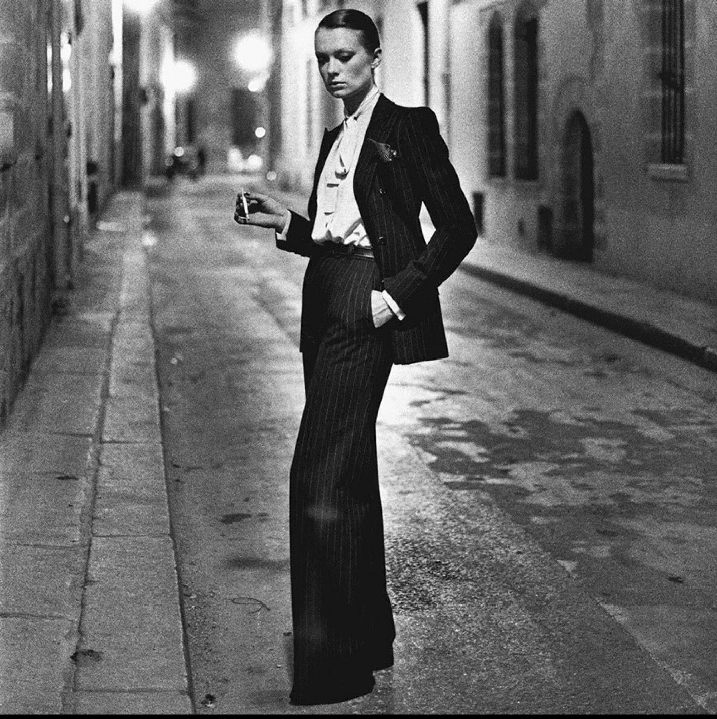 Rue Aubriot, Yves Saint Laurent, Vogue Paris, Paris 1975.   © The Helmut Newton Estate / Maconochie Photography