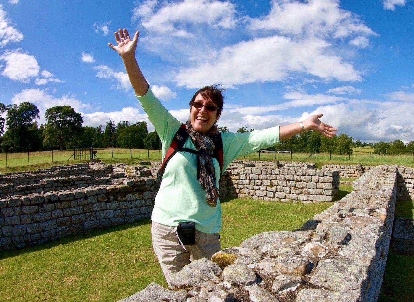 Susan looks happy to be in the ruins of a Roman barracks. How many Legionnaires slept here over the course of 400 years?