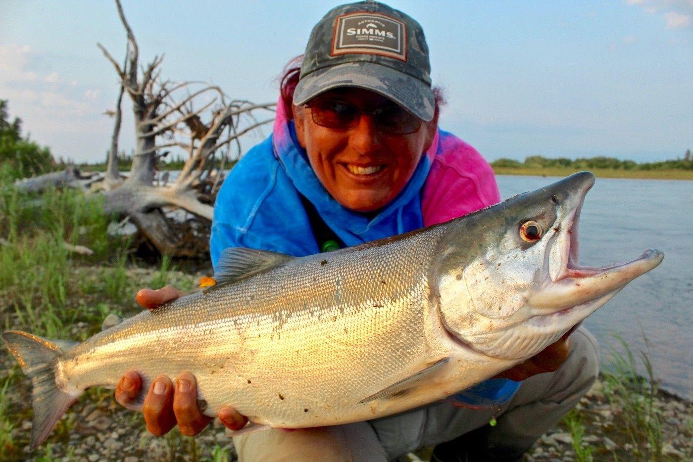 A chrome-bright sockeye salmon.
