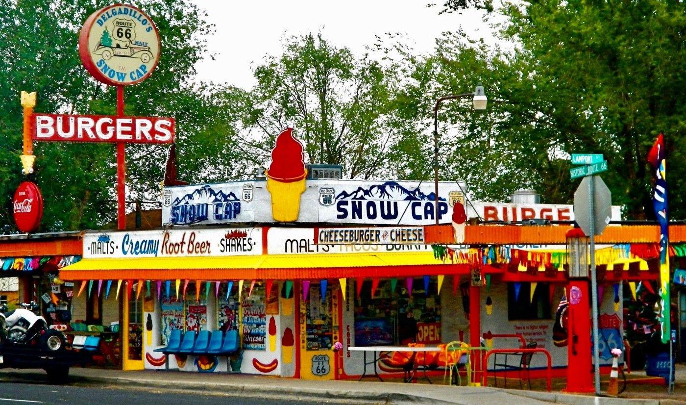 At Delgadillos Sno-Cap you can get a hotdog or an ice cream. Their motto? Sorry, we're open!