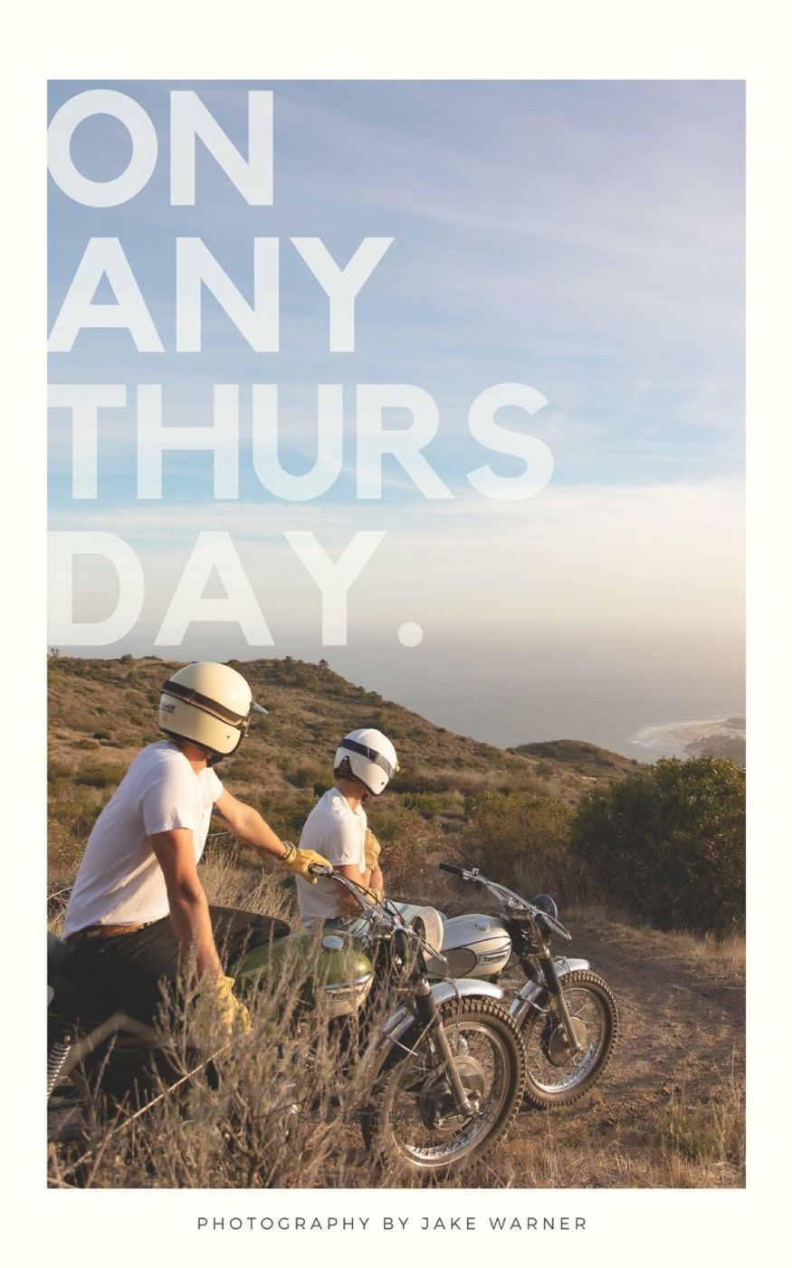 On Any Thursday. A motorcycle moment from then experienced now.  Riders: Reid Harper & Riley Harper  Motorcycles: Triumph Vintage